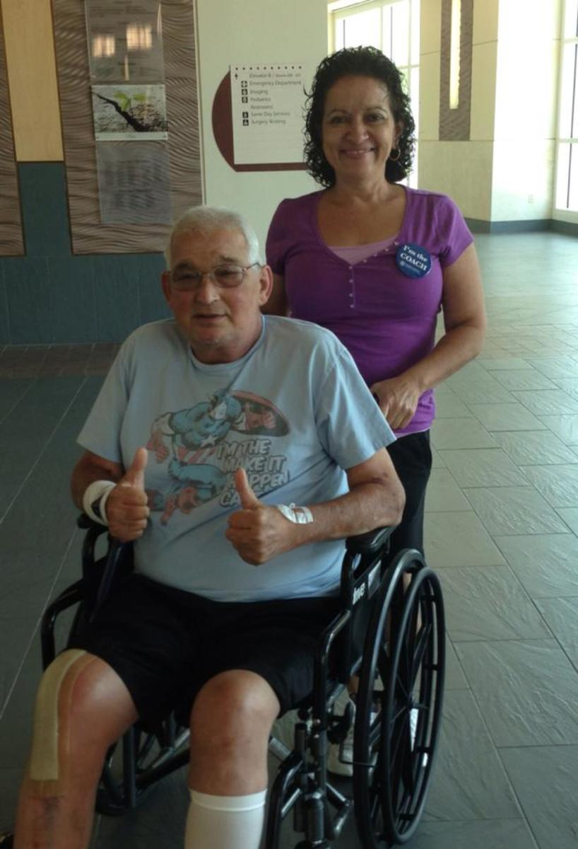 We were discharged from Florida East on July 17. Mission accomplished. New bionic knee for Cap! Yay!