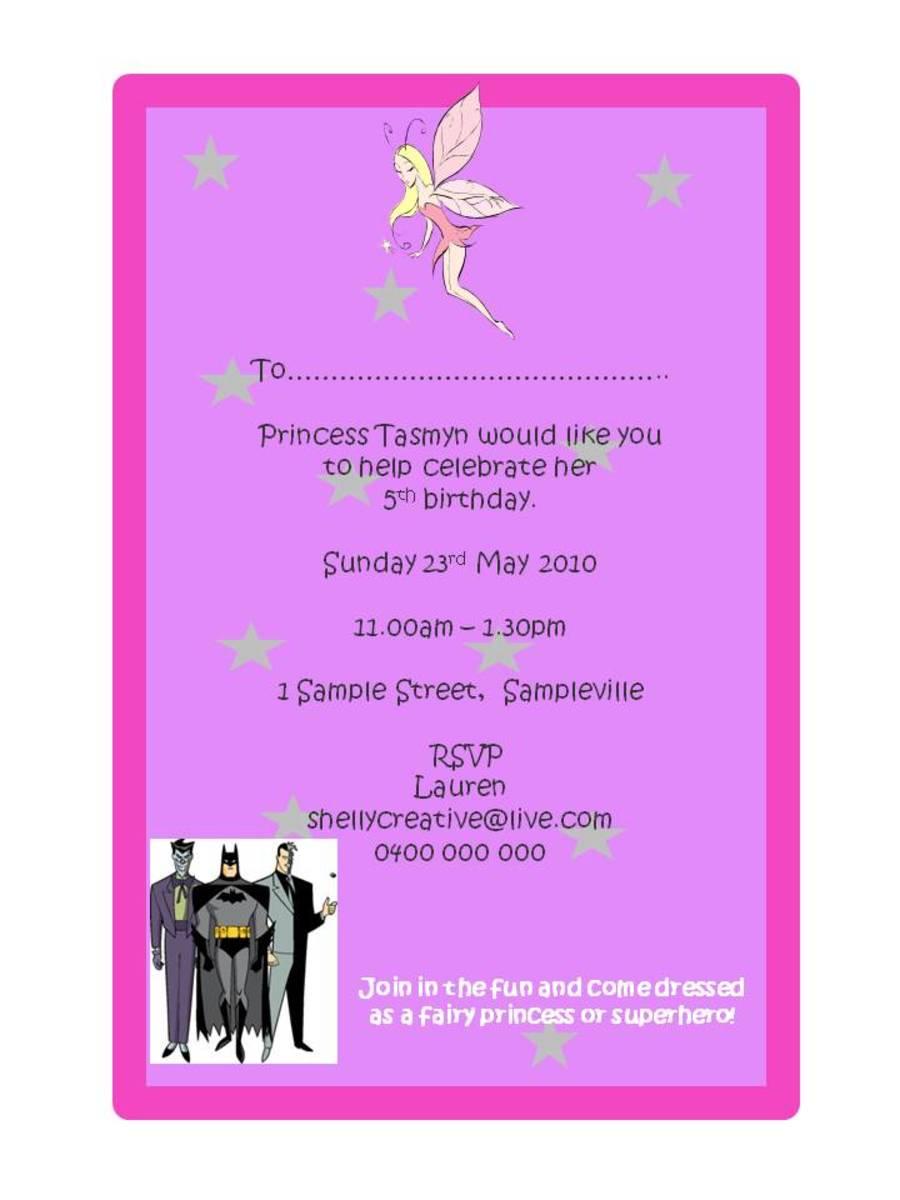 Fairy Party Invite