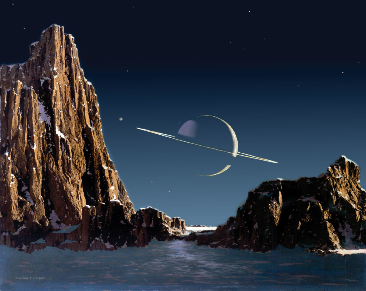 Saturn as seen from Titan  (Reproduced courtesy of Bonestell LLC)