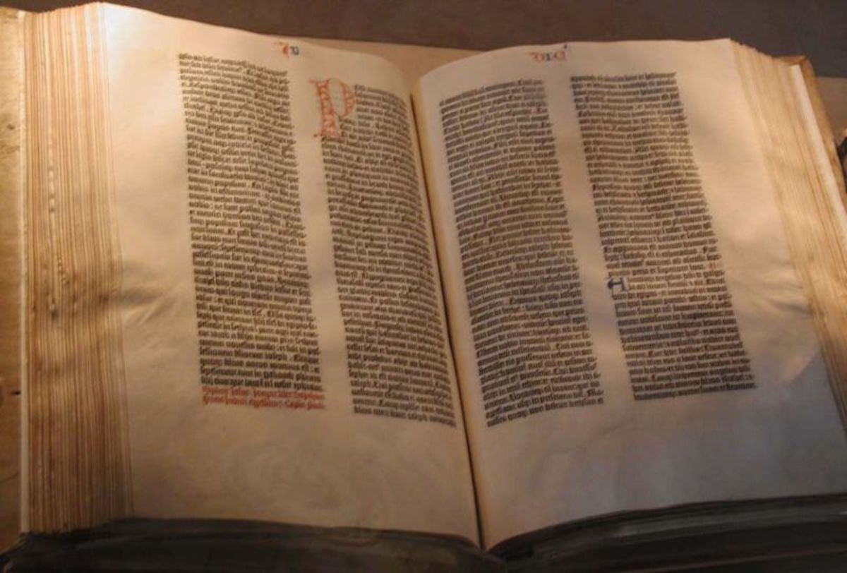 Taken by Mark Pellegrini on August 12, 2002. I hereby release it under the GFDL. http://en.wikipedia.org/wiki/File:Gutenberg_Bible.jpg