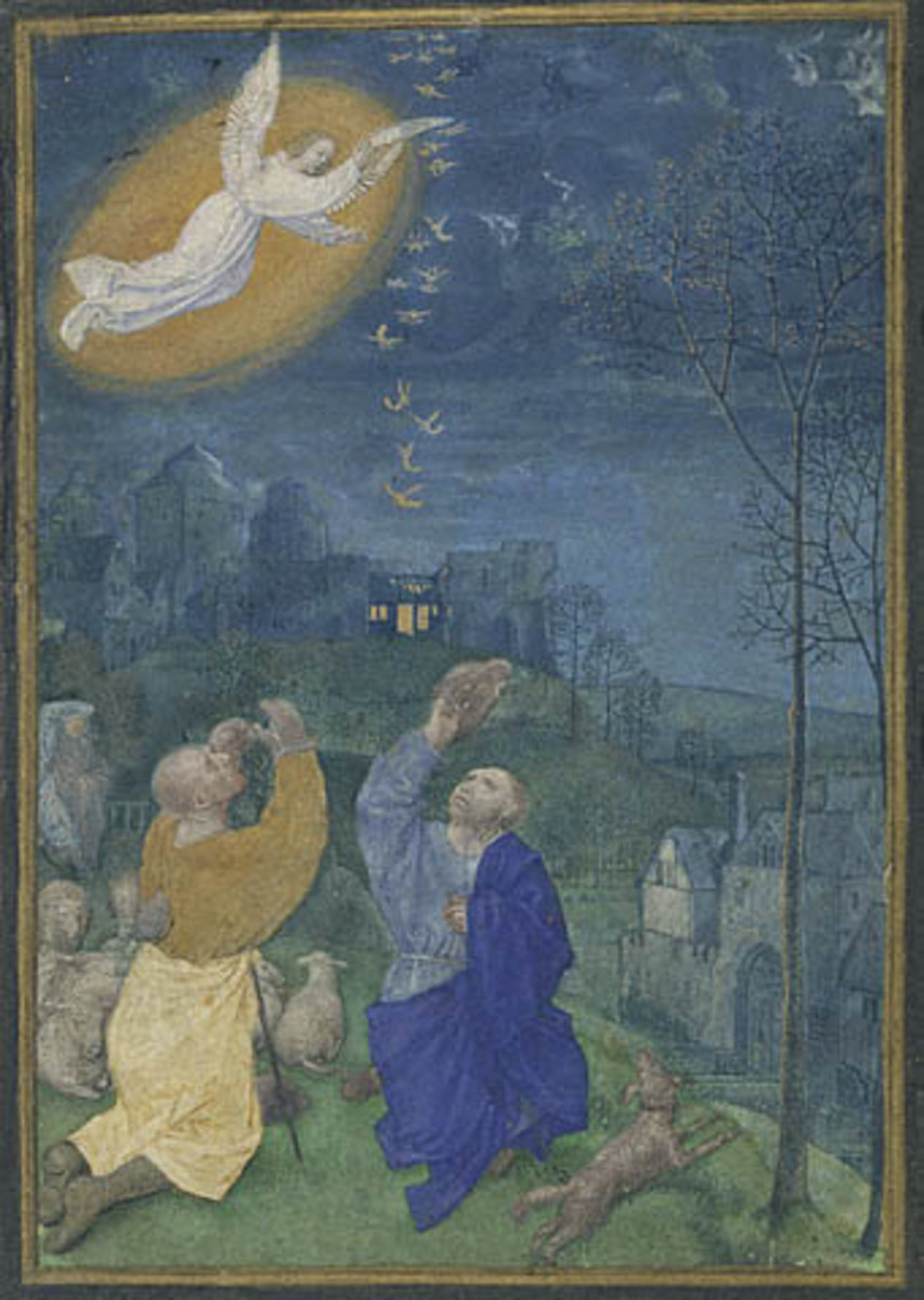 Public domain ~ copyright expired: 15th century http://en.wikipedia.org/wiki/File:Annunciation_to_the_Shepherds_miniature.jpg