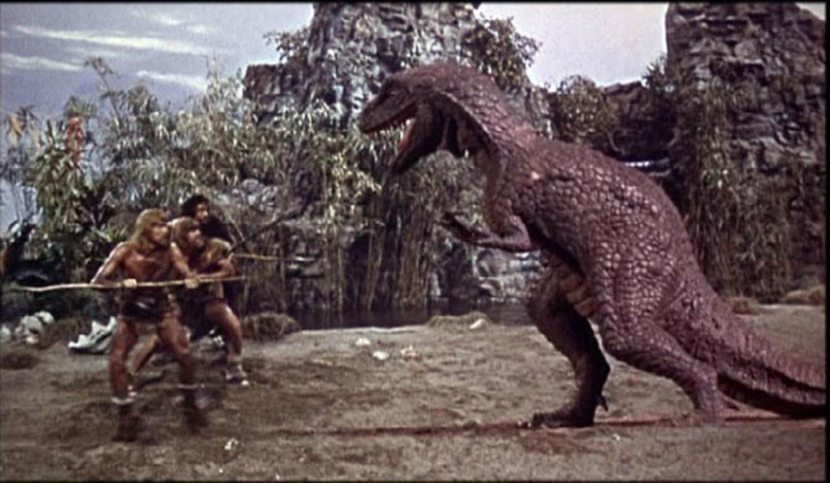 """Allosaurus attacks cavemen in """"One Million Years B.C."""""""