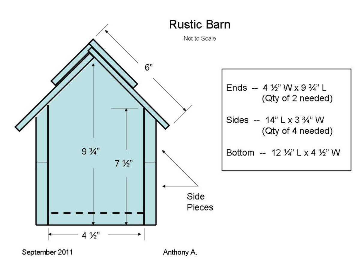 Country Barn Nesting Shelf Plans (side view)