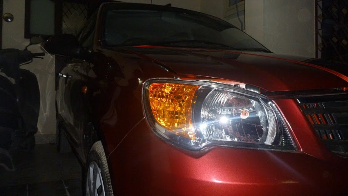 Fire Black Red Maruti Alto K10 Vxi front bumper and headlights