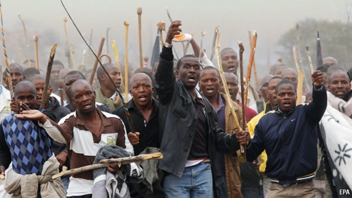 Africans in South Africa spoiling for a fight and demonstrating the present-day inequities. South Africa is sliding downhill while the rest of the continent is s lawing its way up