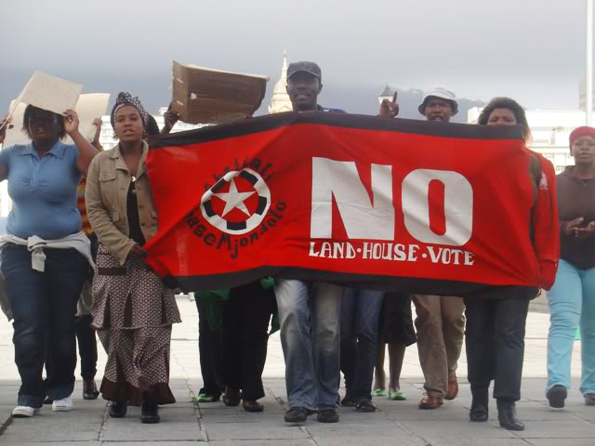 Abahlali baseMjondolo in a demonstration mode against the housing and land policies of the ANC