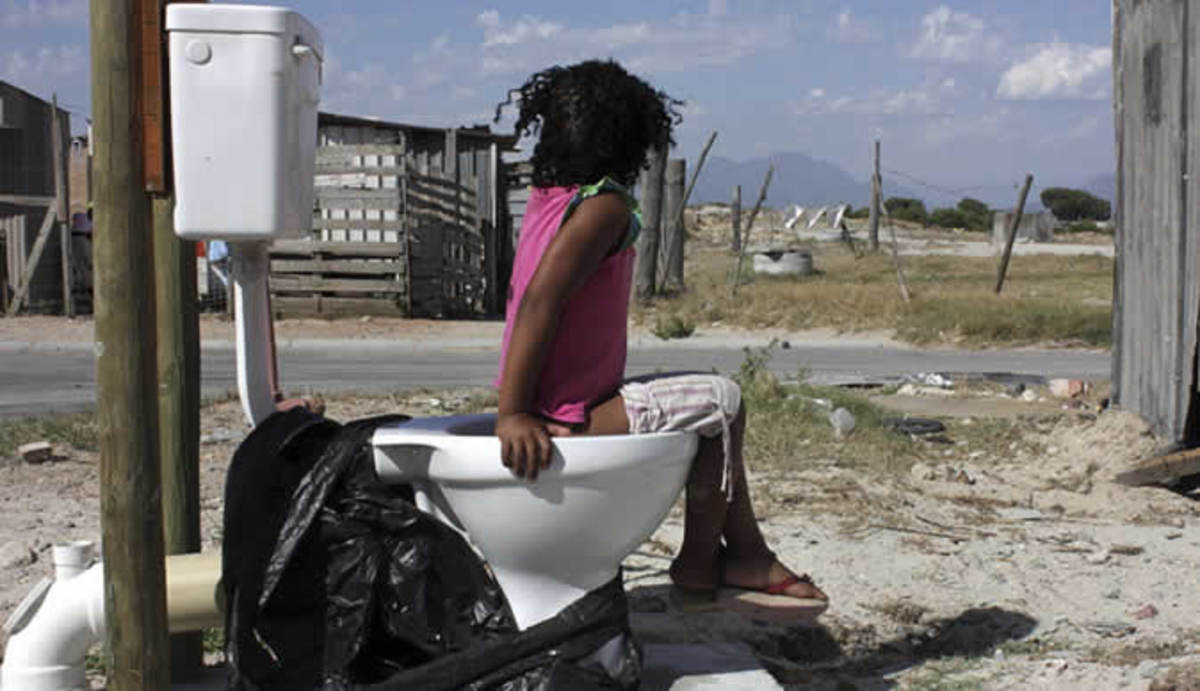 This picture shows how the country's poor Africans have become a potent symbol of local government neglect. Both ANC and DA are responsible for this shameful delivery of basic human services such as installing proper function toilets for the 'voters'