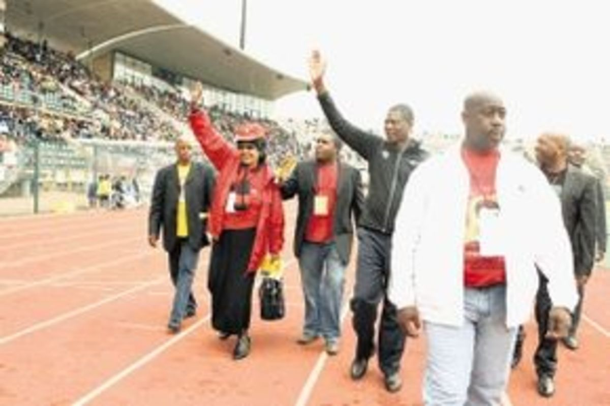 Winie says that ANC's vision is becoming blurred and tinted. Whe we have a system that supports cadre deployment and not national interest, then we have a big problem. ...seen here salutes the crowds in the stadium May  Day Rally in Atteridgeville