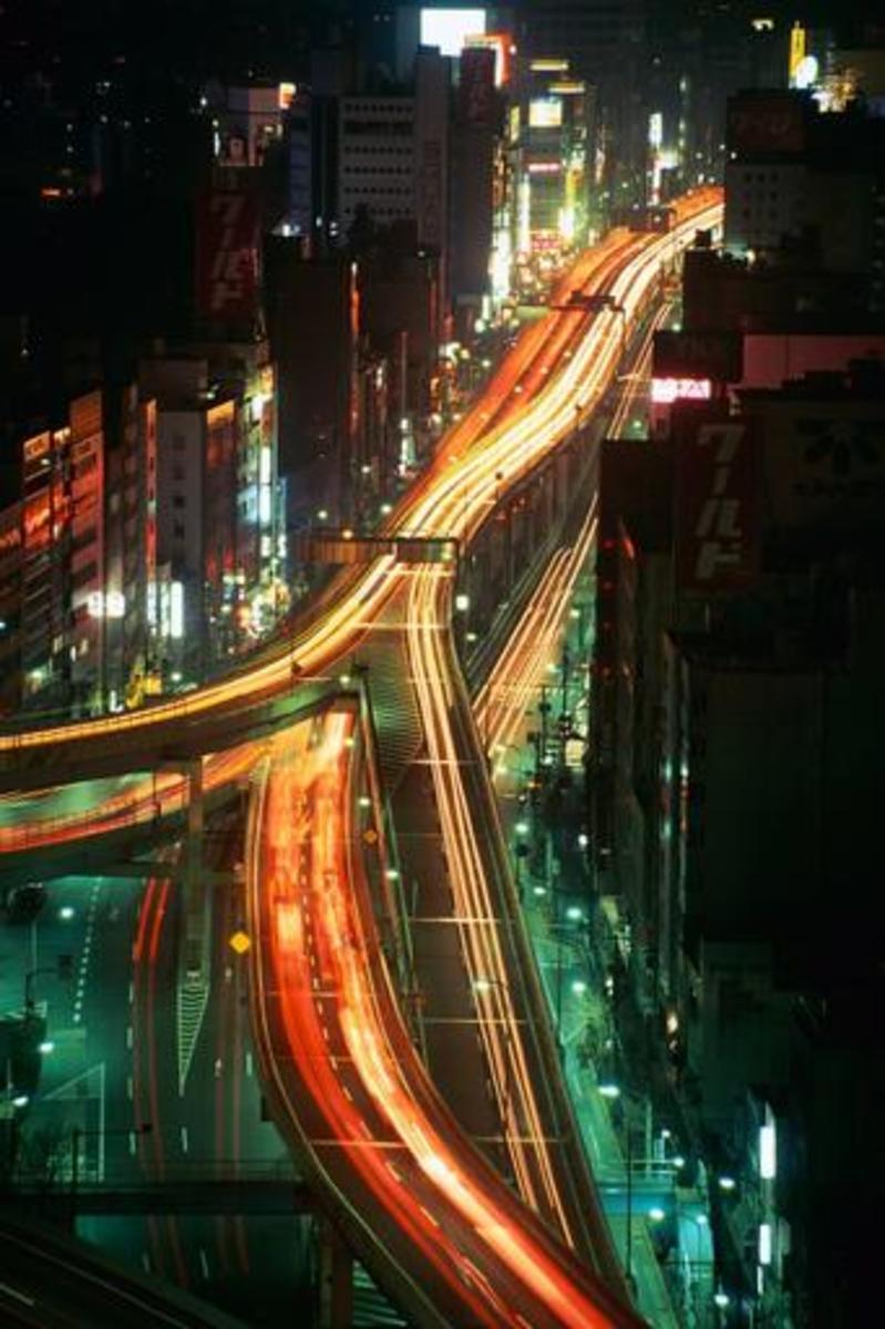Expressway running through Tokyo.