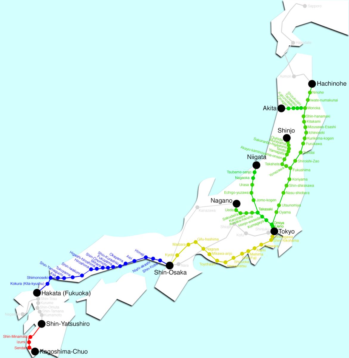 Shinkansen rail network.