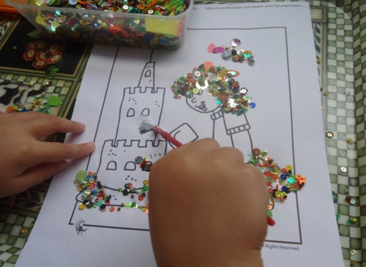 colouring with sequins