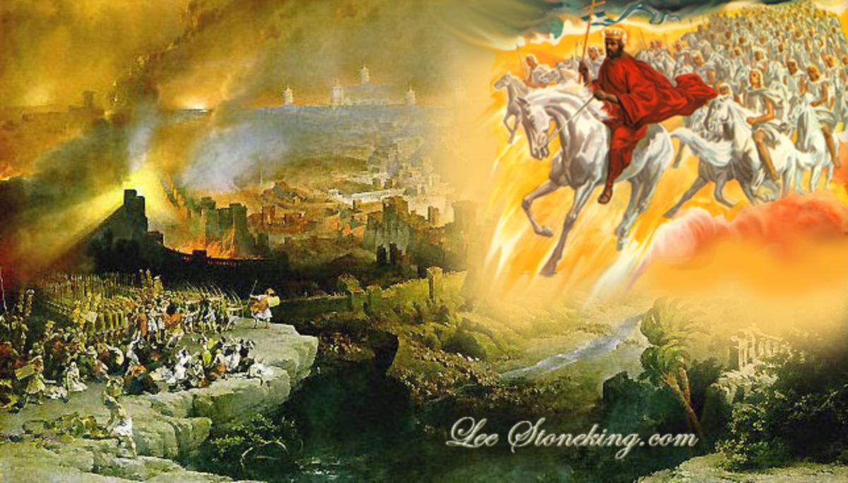 Jesus, descending from Heaven to start the Battle of Armageddon.