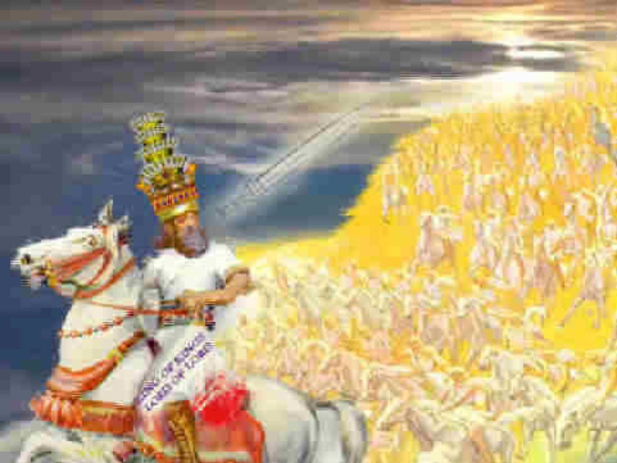 Another artist conception of Jesus leading the Heavenly forces.