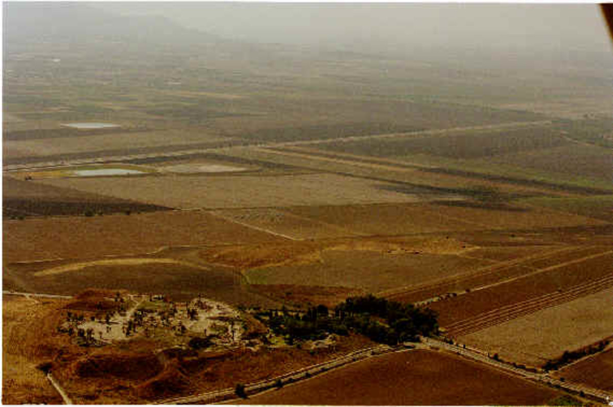 Megiddo - aerial view of the Battle of Armageddon site.