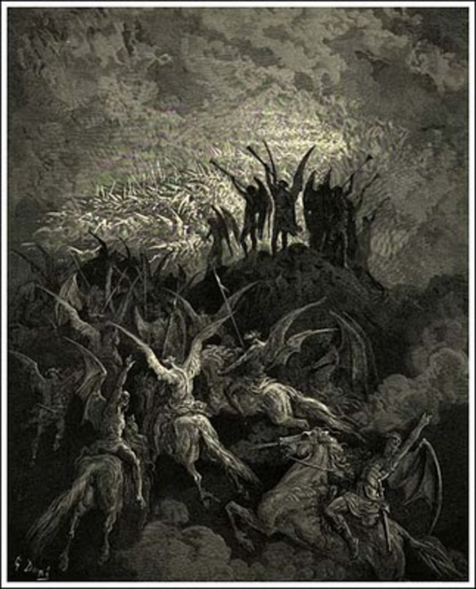 Evil demonic forces join the fight with Satan.