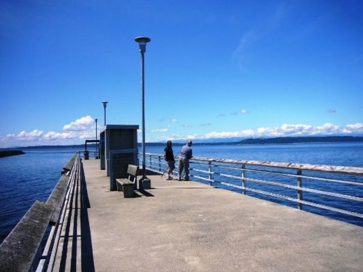 Some people trying their luck on the Edmonds Fishing Pier