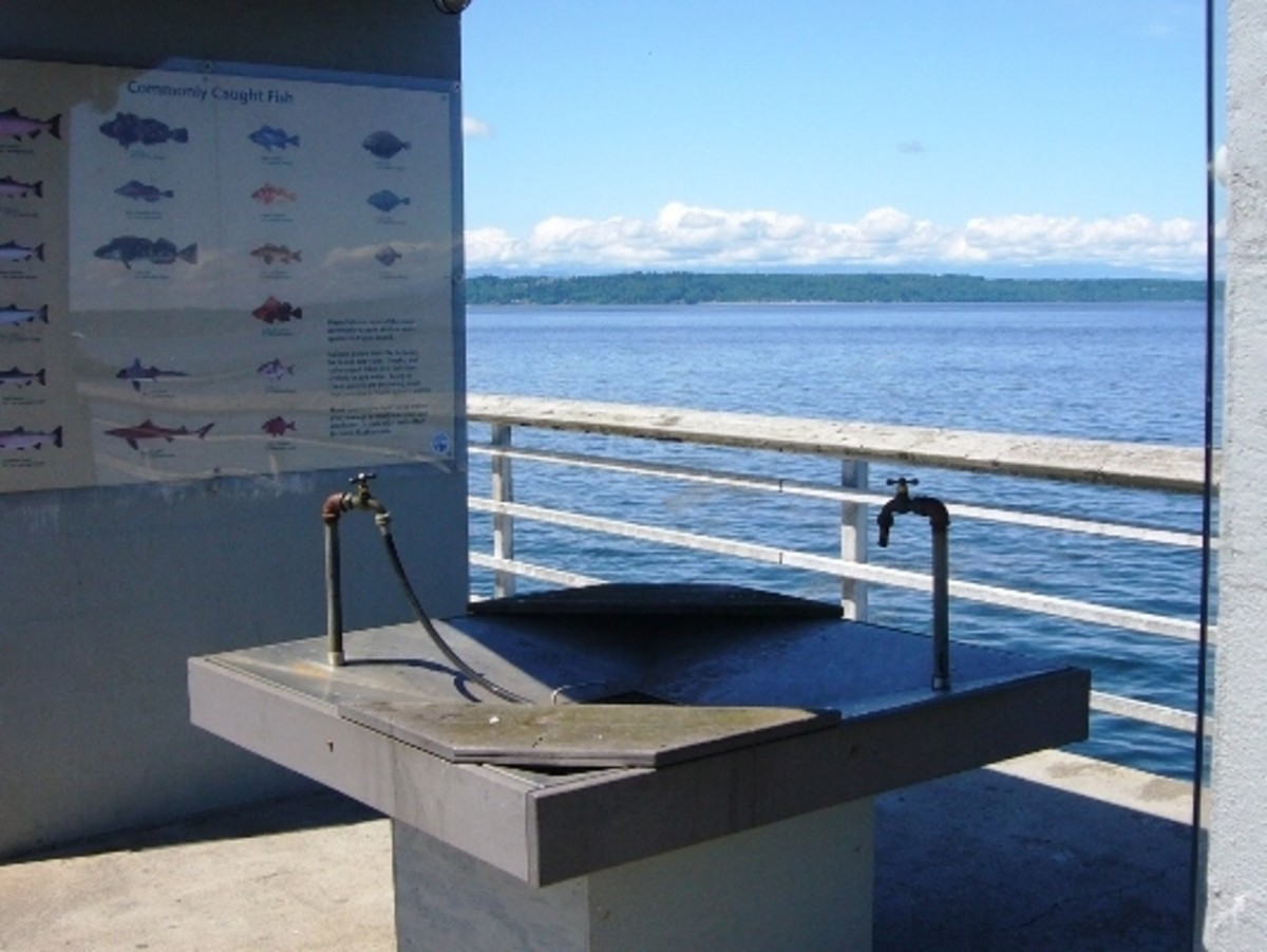 Handy cleaning stations are located on the dock for hand washing or cleaning the catch.