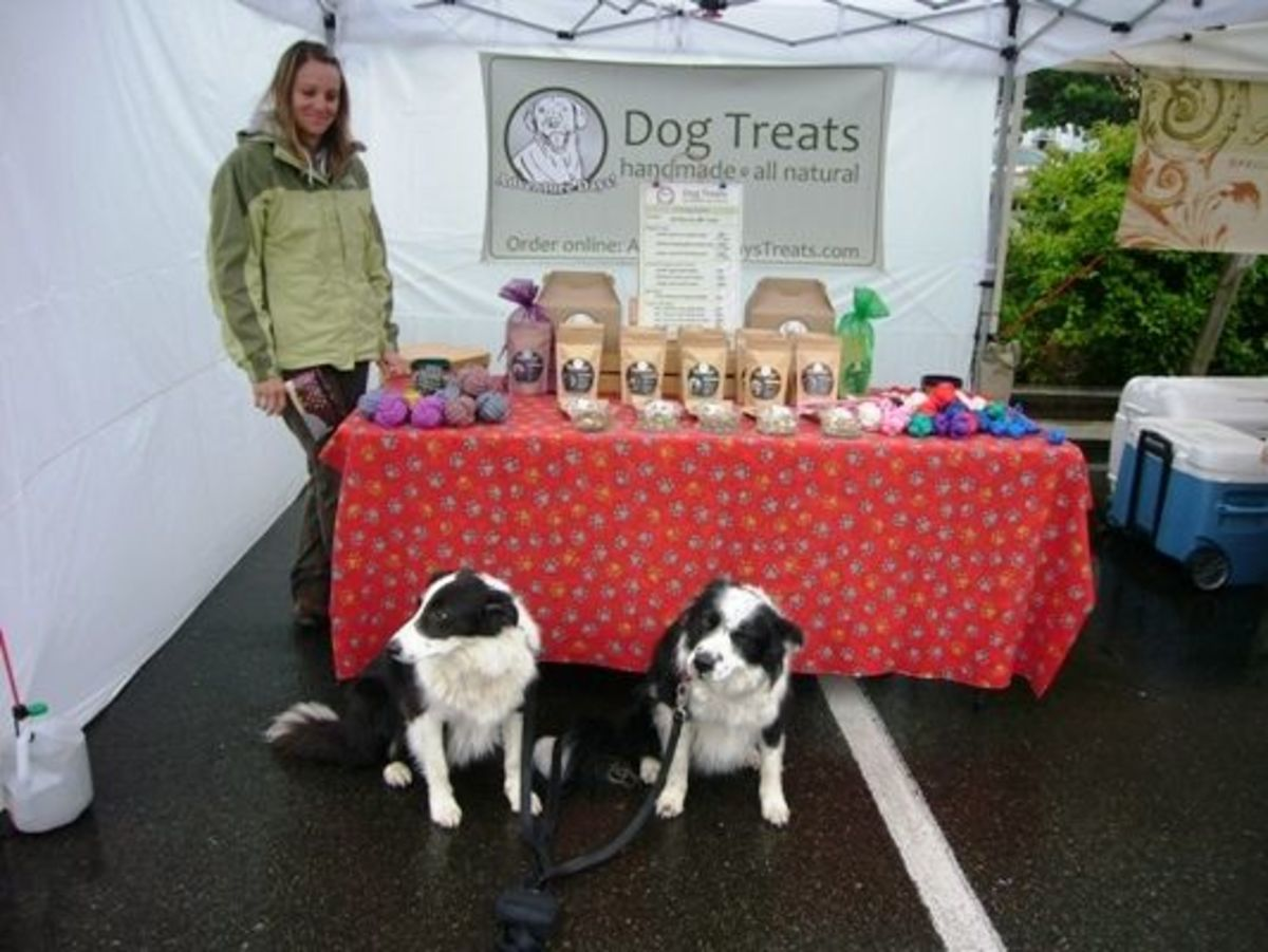 Tim and Skye enjoy some free dog treat samples.