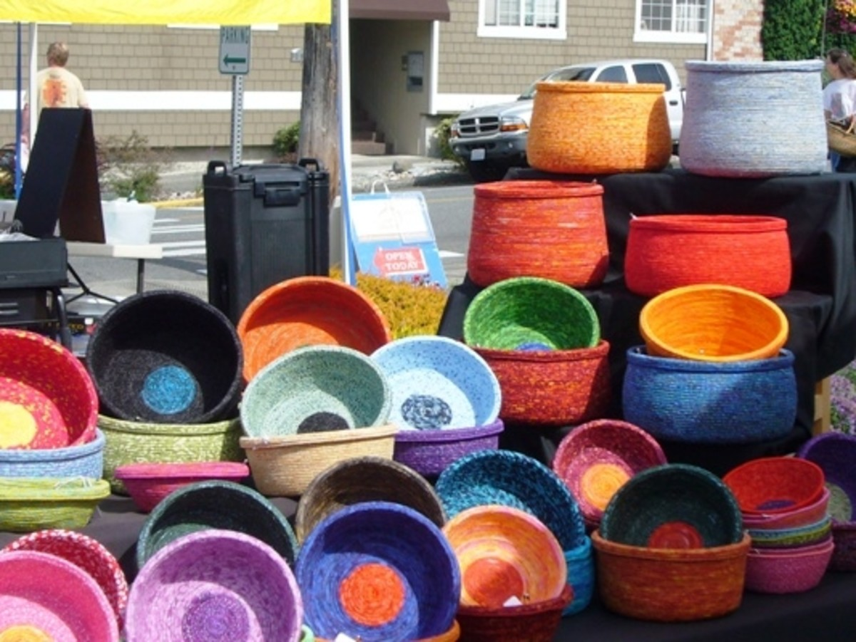 Colorful handmade baskets