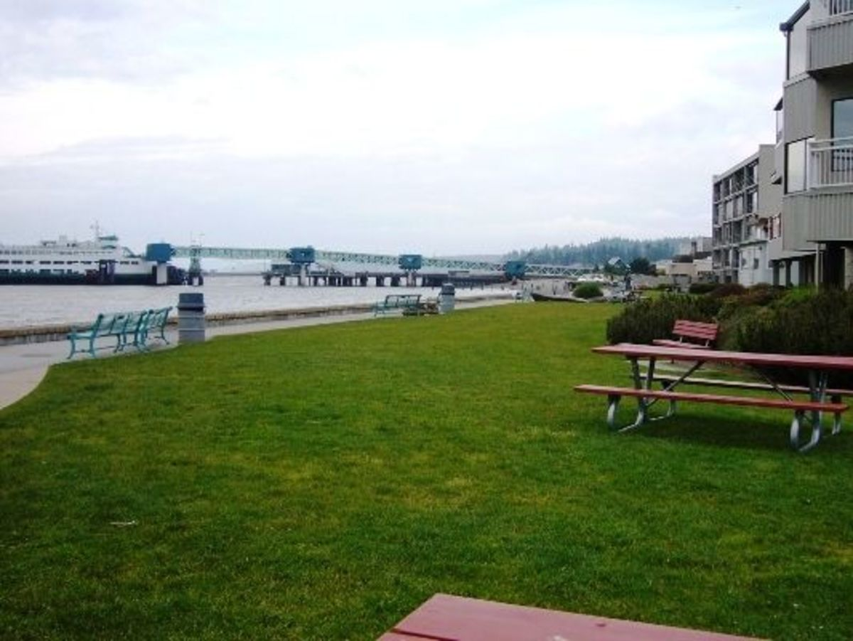 The picnic area and lawn with a view of the Edmonds ferry dock