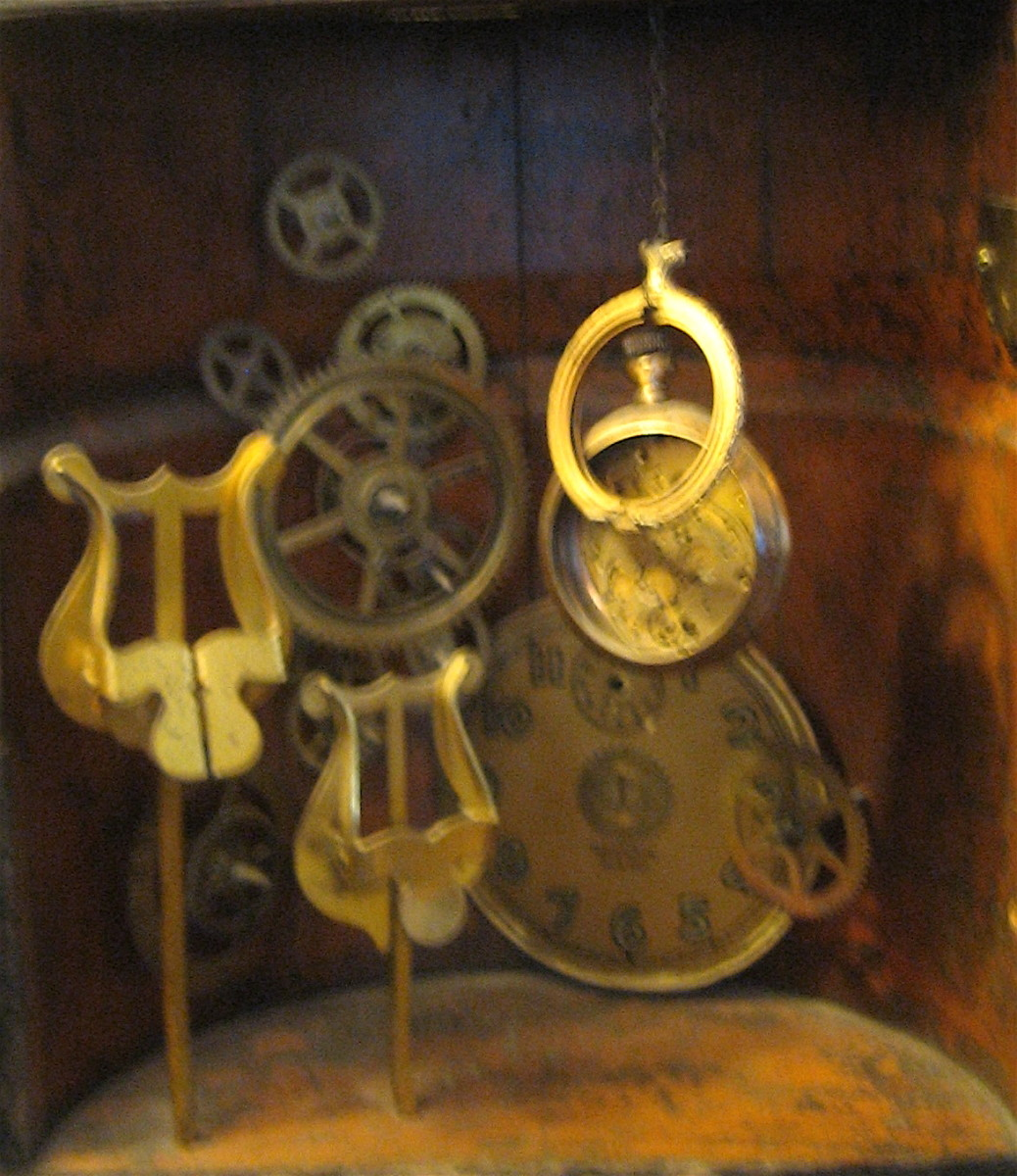 Clock gears and other pieces repurposed into artwork.