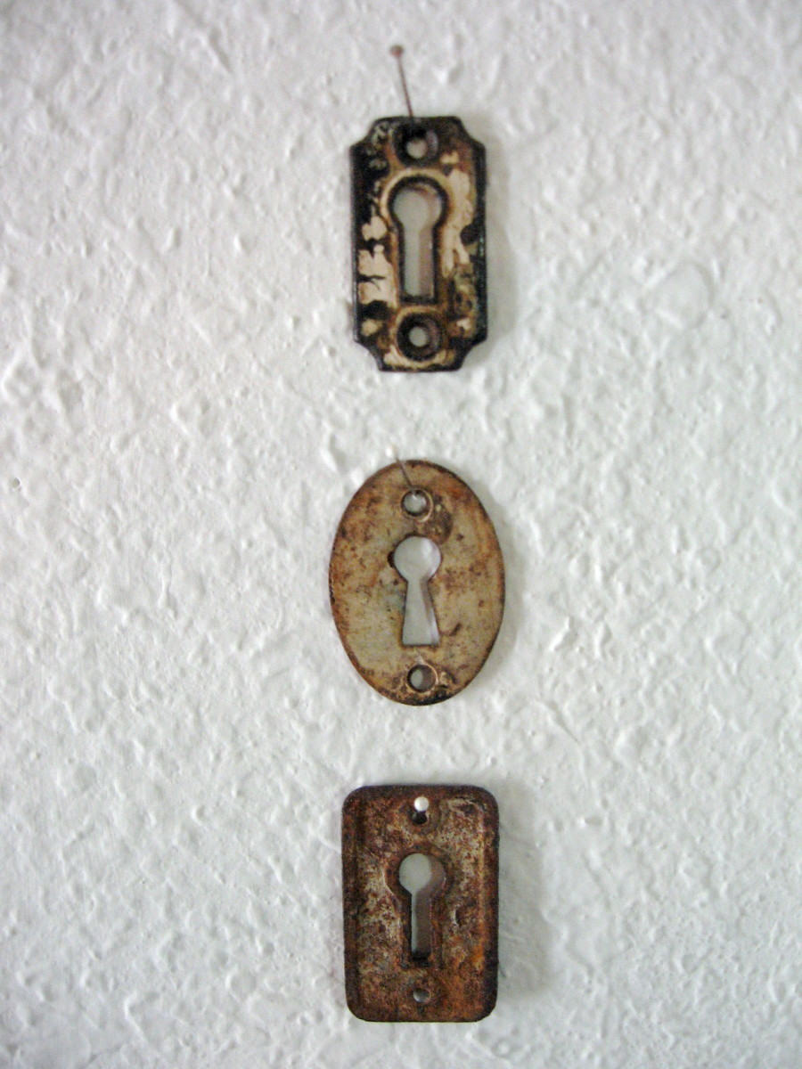 Rusty old keyholes.
