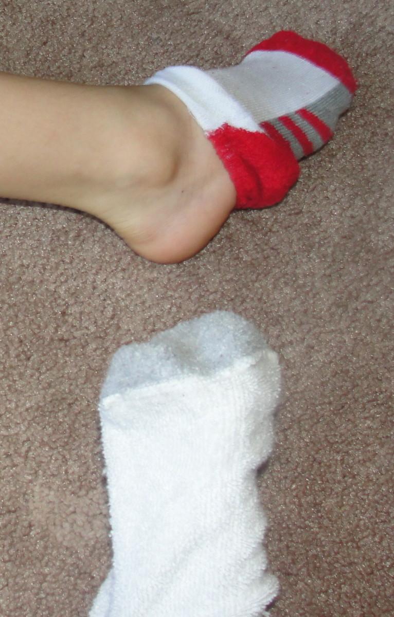 Shedding snake skin activity: shedding a sock