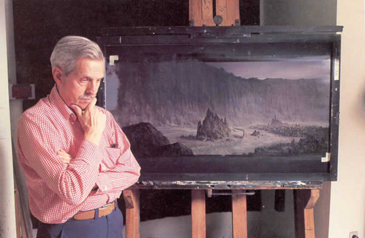 Whitlock working on a matte painting for Dune (1984)