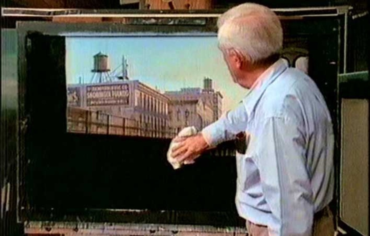 Albert Whitlock working on a matte for The Sting (1973)
