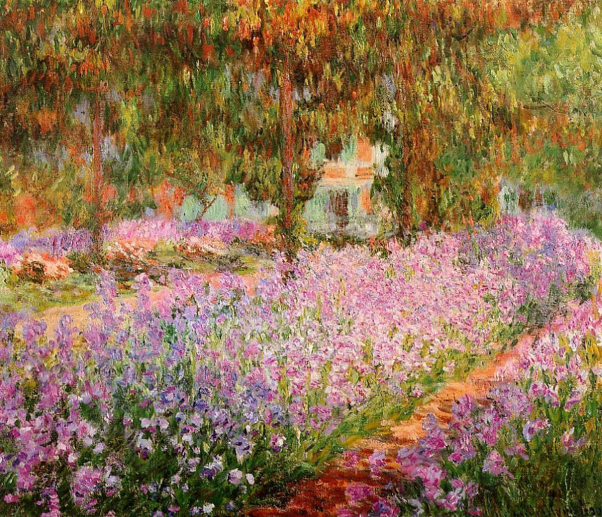 free cross stitch pattern Monet garden with irises