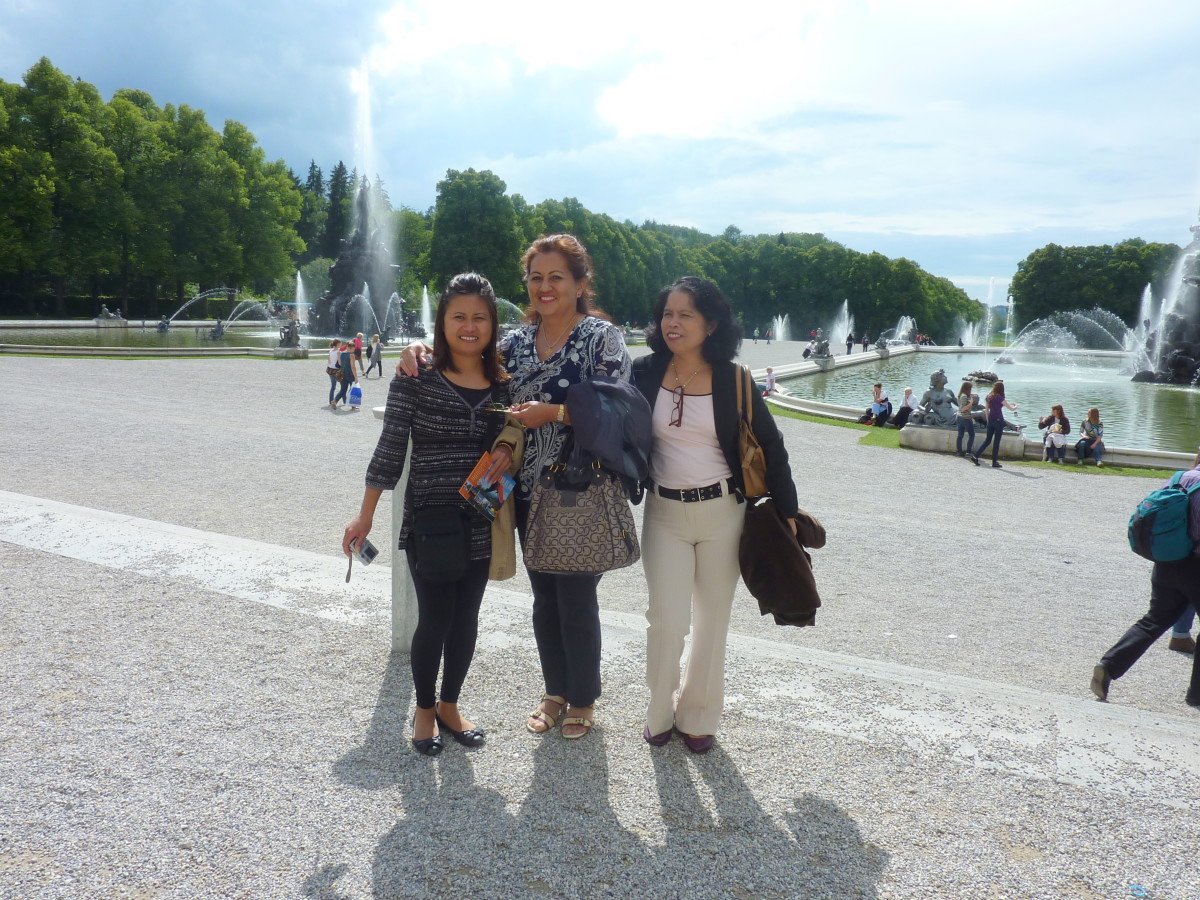 My friends and I at Heerenchiemsee Palace Garden, Bavaria, Germany