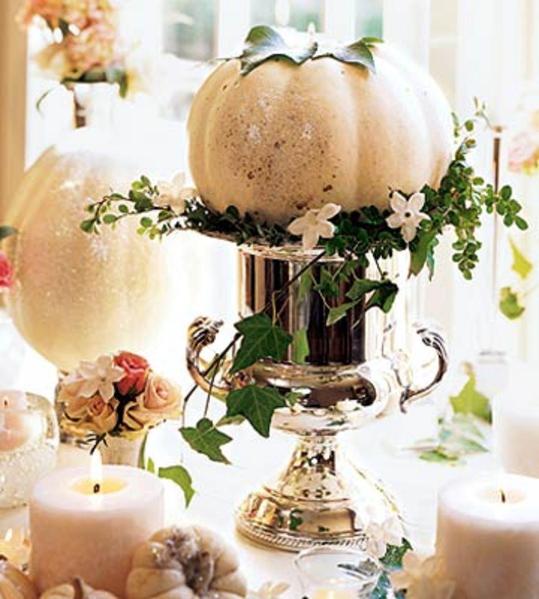 White Pumpkin Wedding Decor