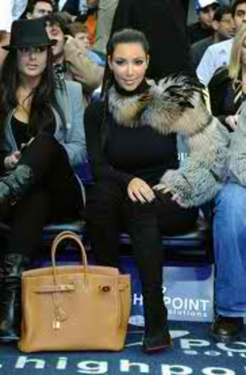 Kim is photographed with the cutest puppy, and alongside her is yet another tan birken bag.