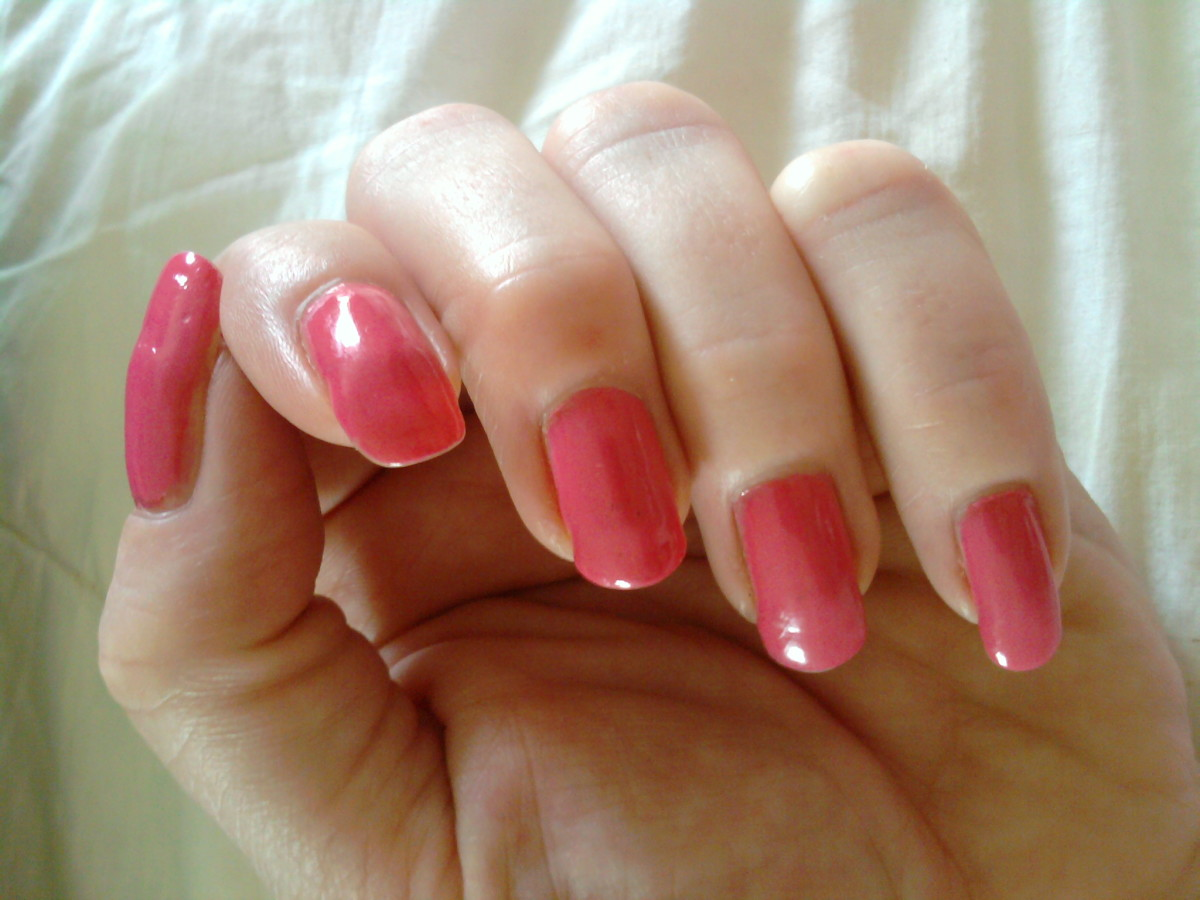 "Taken this morning, I last polished these 3 weeks ago!!     Shown: Ulta Salon Formula Nail Lacquer in ""Sweetheart Pink"""