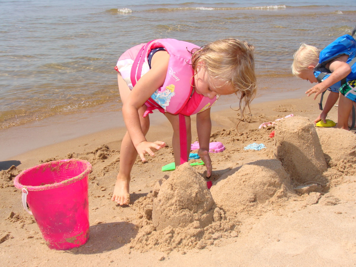 Playing in the sand.