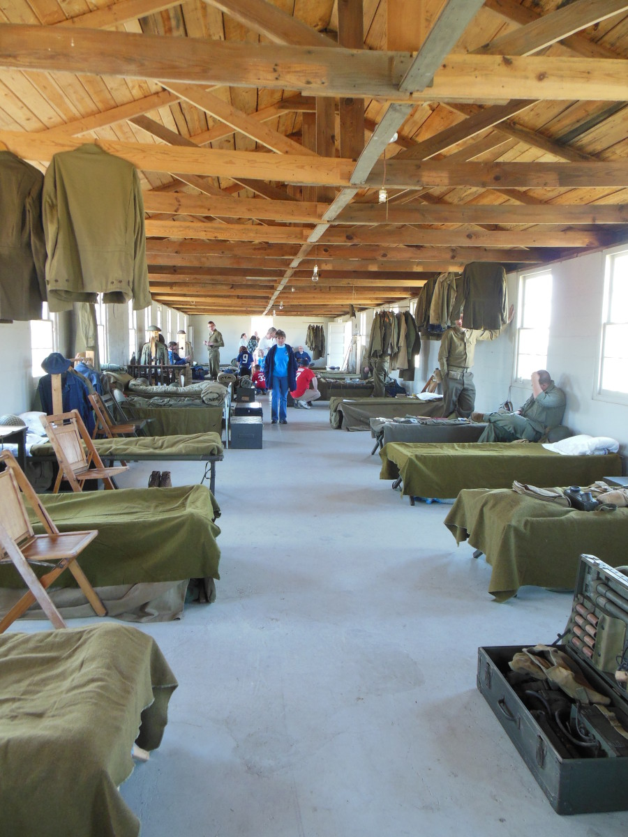 The barracks were full of WWII equipment, all owned by the individual reenactors.