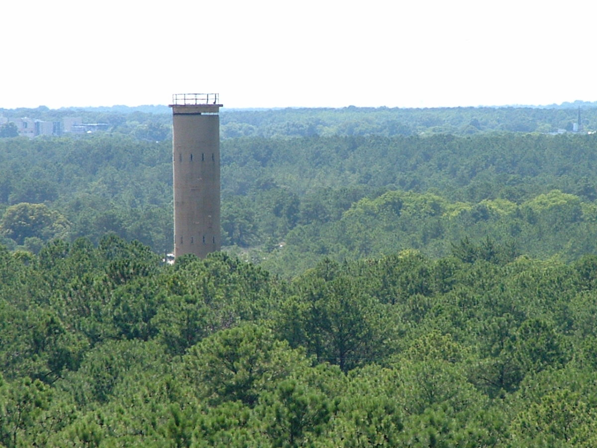 View of another tower as seen from the top of the open observation tower.
