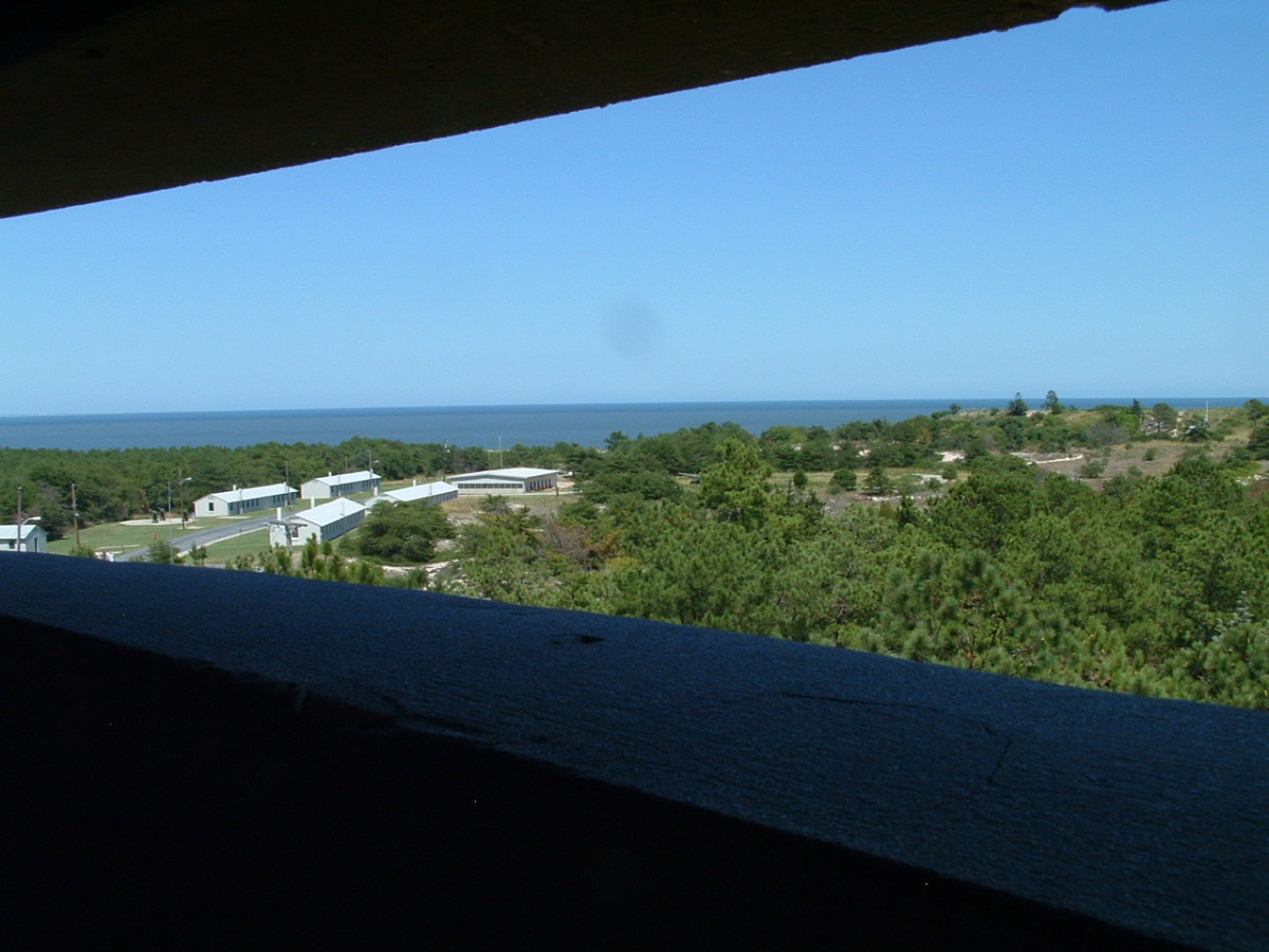 Panoramic view of the Atlantic Ocean and the restored Fort Miles barracks which can be seen to the left of the photo.