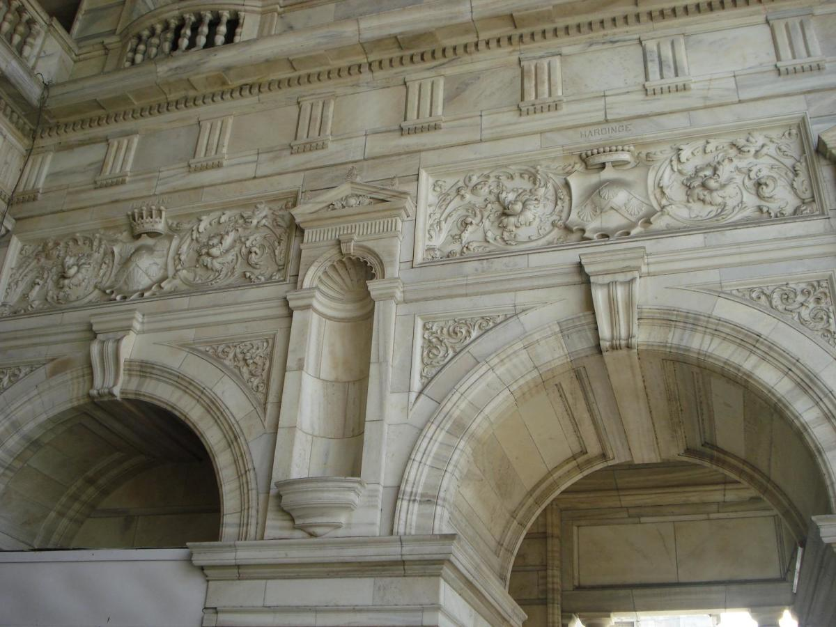 Close view of the designs on the walls