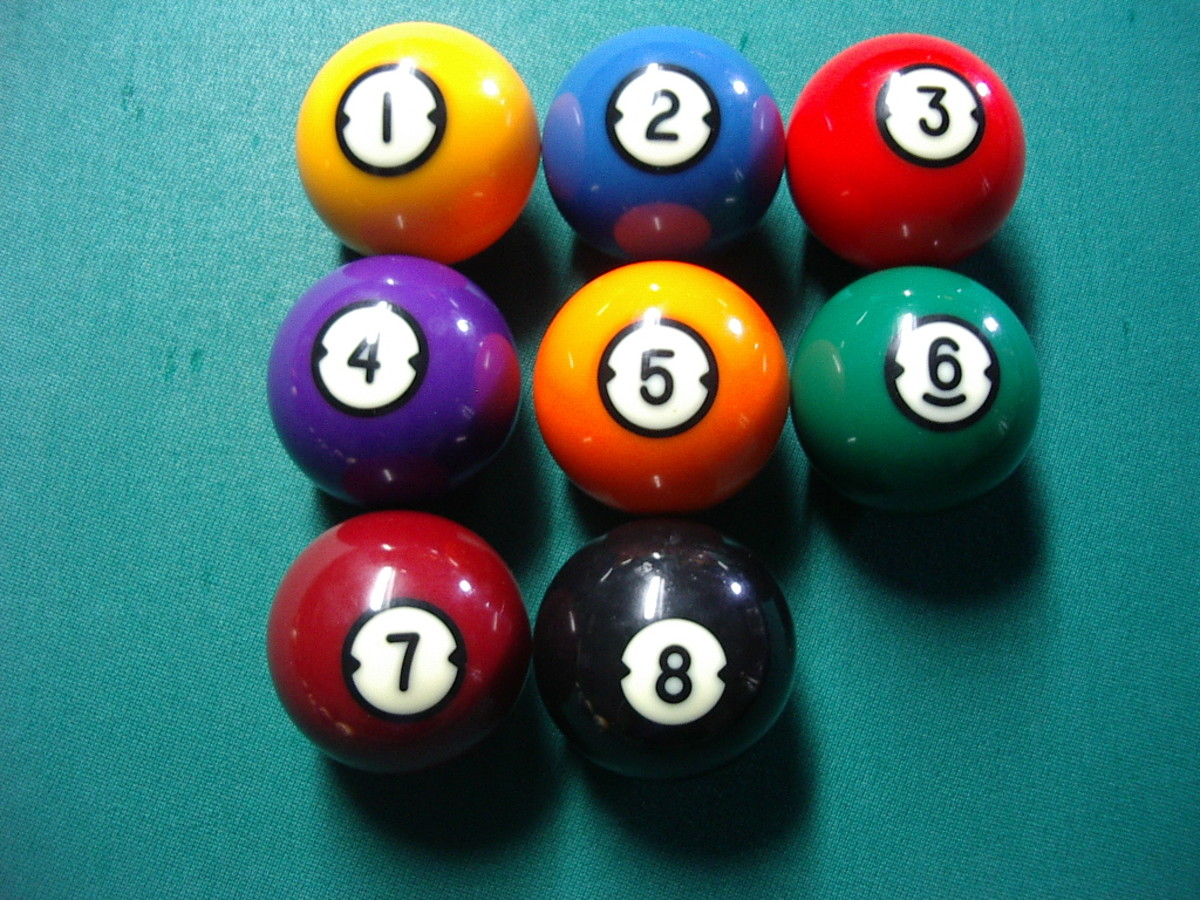 Photo 2.  The 9-ball above and the other 8 balls needed to play 9-Ball.  Of course the white cue ball comes in handy as well.