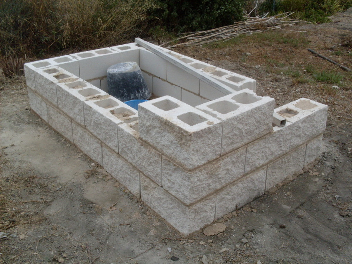 the ornamental blocks are cemented into place