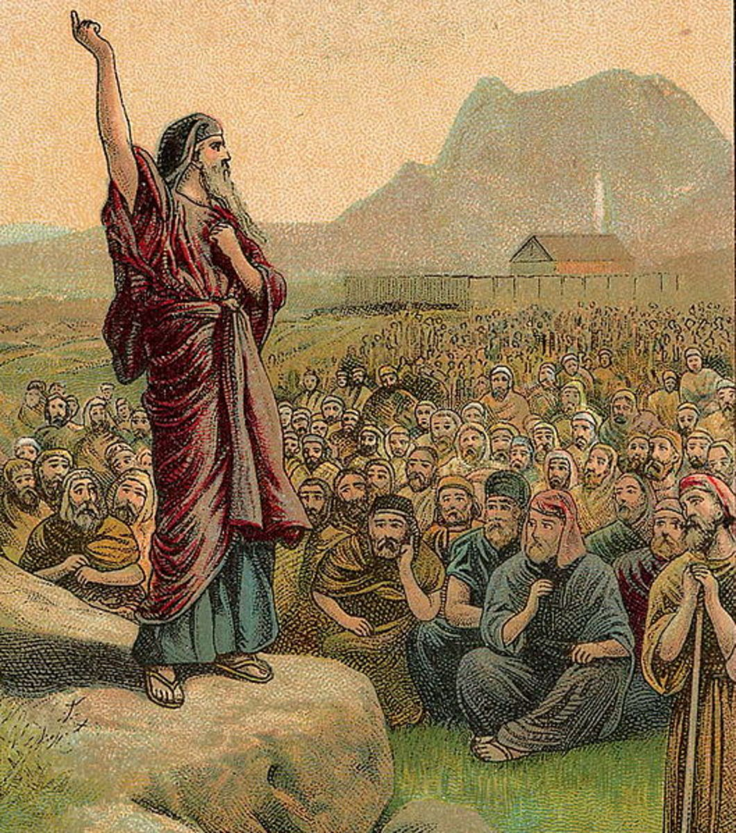 """""""Moses in the Desert"""" -- Moses Pleading with Israel;  Deuteronomy 6:1-15. Actually a Bible collection card from 1907."""