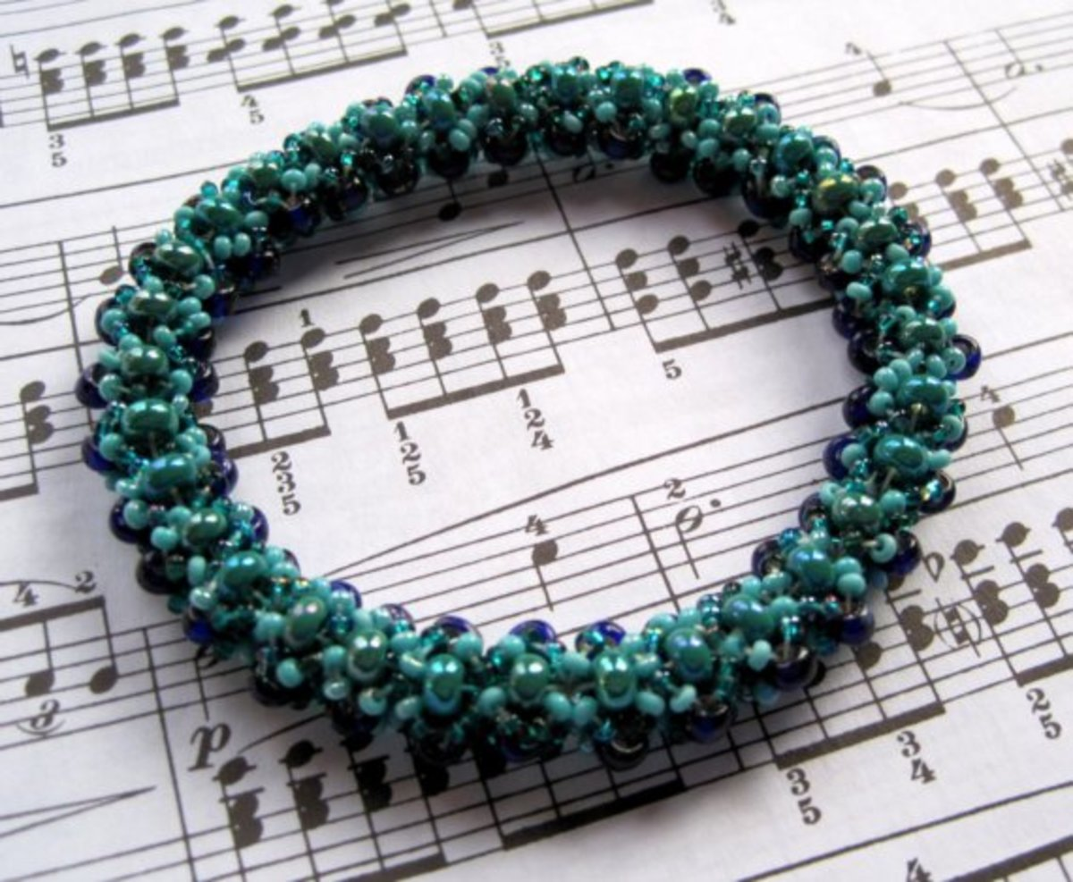 Beaded Bangle Bracelet - Turquoise