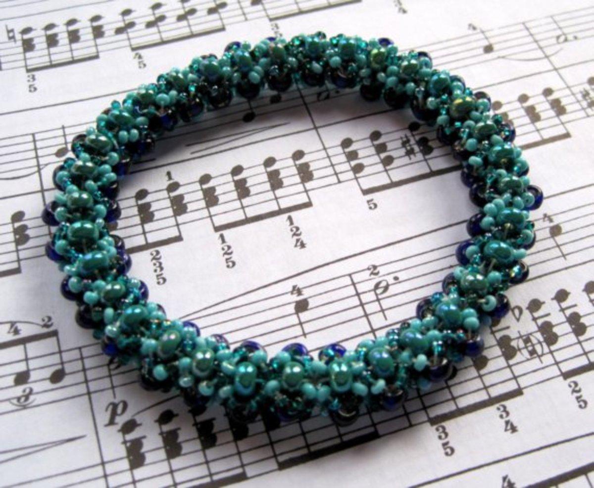 Beaded Bangle Bracelet - Turquoise