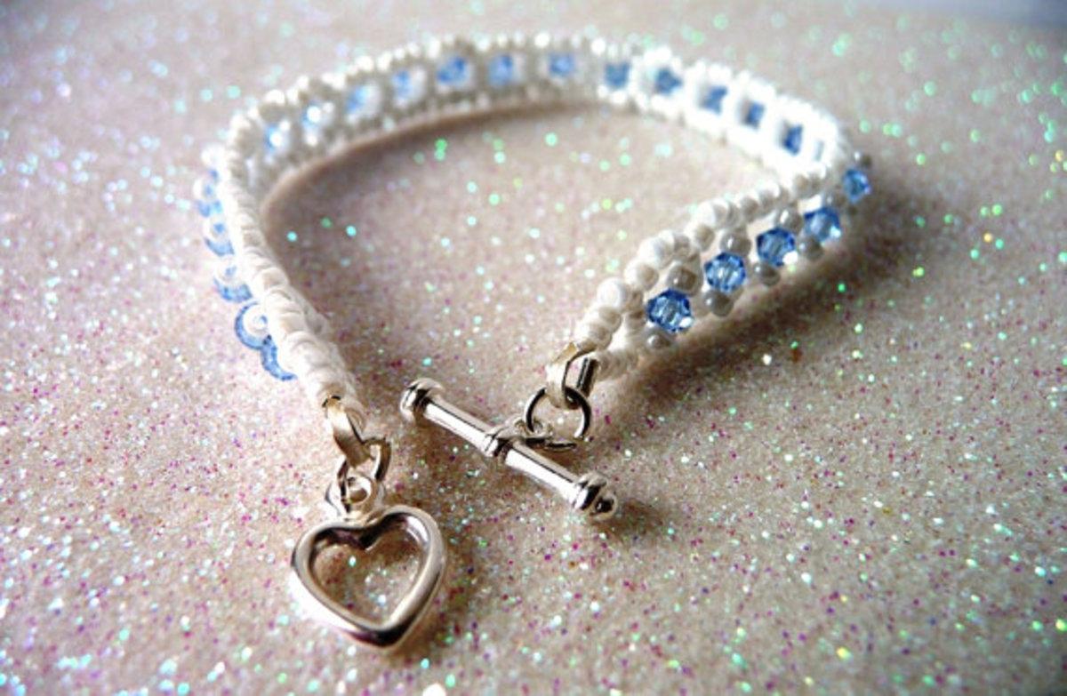 Little Girls Handmade Bead Woven Bracelet in Light Sapphire and White