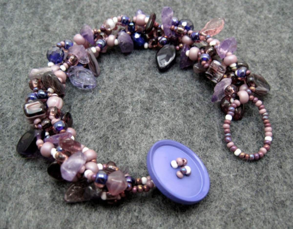 This is one of my pieces from my rock garden series.  In addition to seed beads, I frequently use gemstone chips and rounds and Czech glass shaped beads in these pieces.
