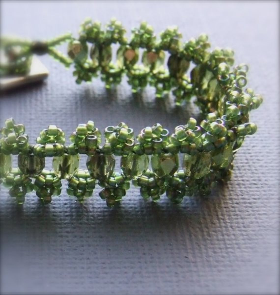 Olive Green Glass and Sterling - Beadwoven Bracelet - 'Olive Lace'