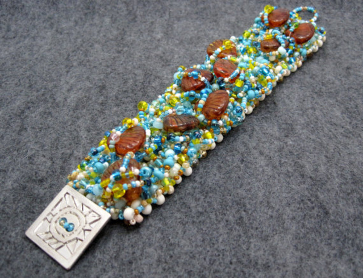 Beaded Bracelet Button Embellished Flower by randomcreative