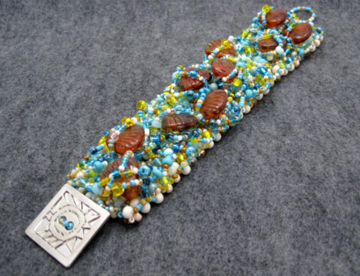 Beaded Cuff Bracelet - Freeform Embellished - The Allure of Sand