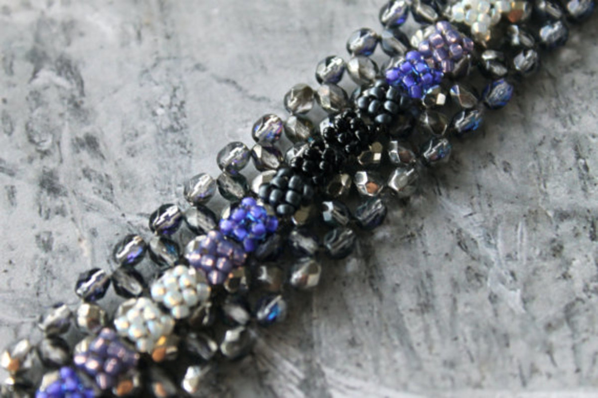 Right Angle Weave Bracelet with Fire-Polished Beads